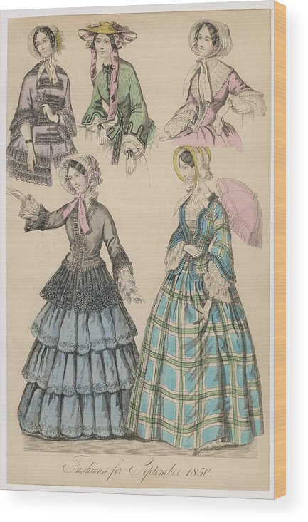 Fashions Wood Print featuring the drawing Plaid Dress Open Jacket Bodice by Mary Evans Picture Library