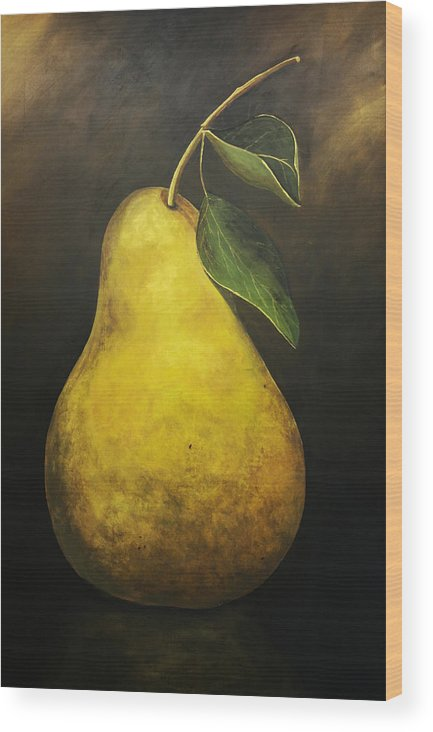 Pear Painting Wood Print featuring the painting Portrait Of A Pear by Terri Meyer