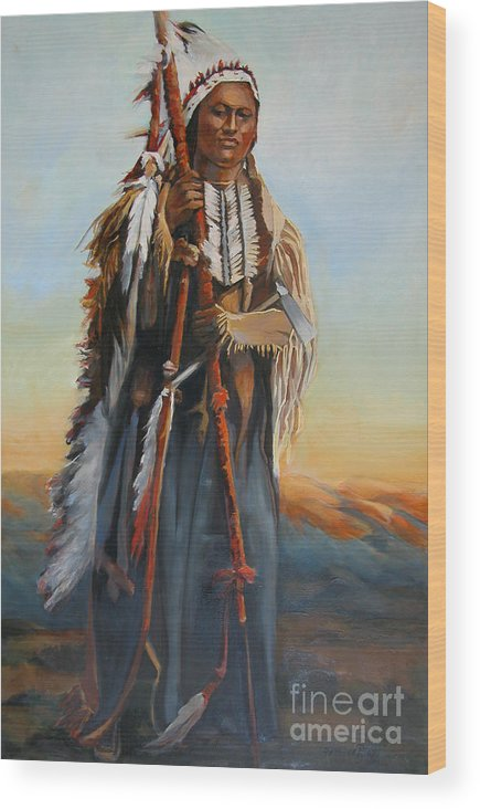 American Indian Portrait Wood Print featuring the painting Powderface by Synnove Pettersen