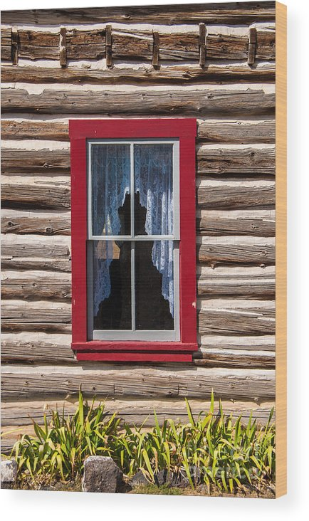 Red Wood Print featuring the photograph Red Window Log Cabin - Idaho by Gary Whitton