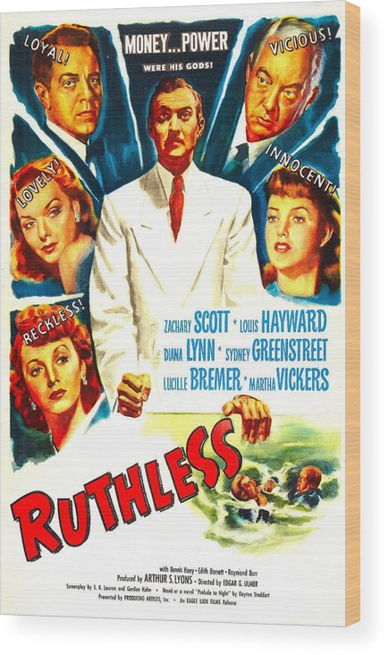 1940s Movies Wood Print featuring the photograph Ruthless, Us Poster, Zachary Scott by Everett