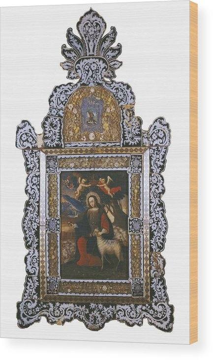 Vertical Wood Print featuring the photograph Saint John. Colonial Baroque. Oil by Everett
