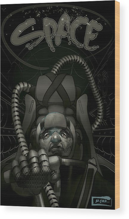 Sci Fi Wood Print featuring the painting Sky Masters French Version by Matthew Schenk