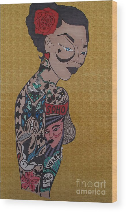 Girl Wood Print featuring the drawing Tattoo Chic Gold by Karen Larter