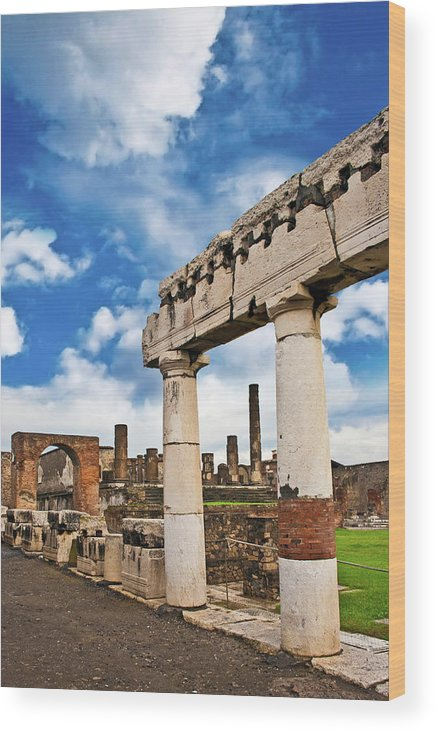 Ancient Wood Print featuring the photograph The Ancient Ruins Of Pompeii, Italy by Miva Stock