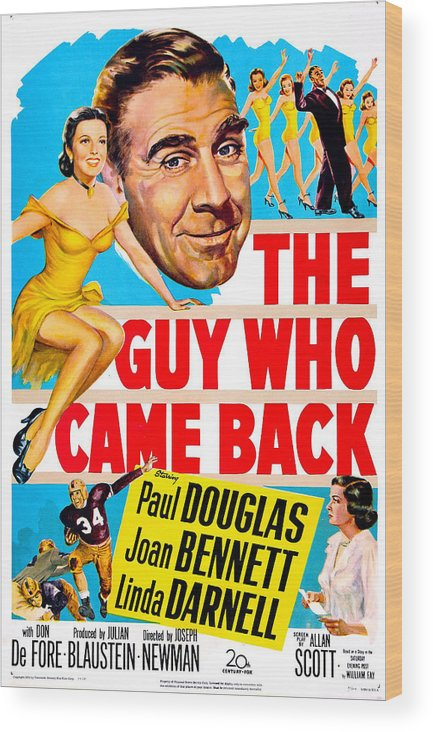 1950s Poster Art Wood Print featuring the photograph The Guy Who Came Back, Us Poster, Paul by Everett