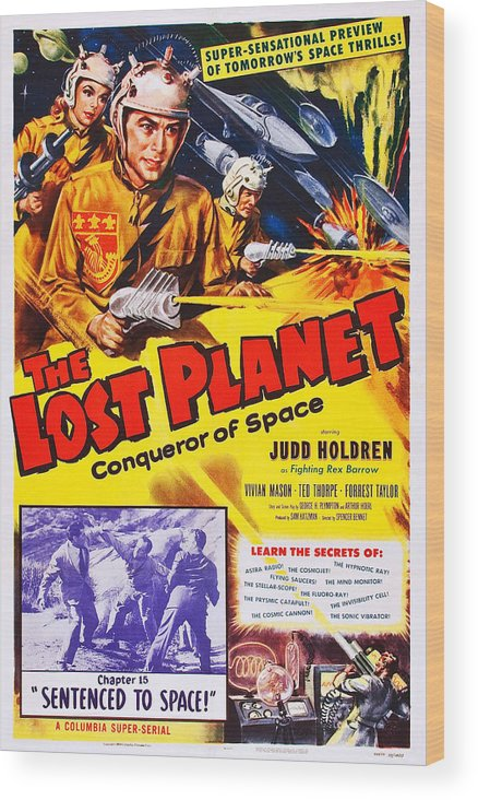 1950s Poster Art Wood Print featuring the photograph The Lost Planet, Top Right Judd Holdren by Everett