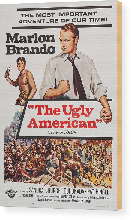 1960s Movies Wood Print featuring the photograph The Ugly American, Us Poster Art, Eiji by Everett