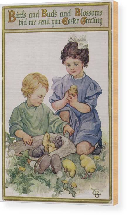 Girls Wood Print featuring the drawing Two Children Play With Chicks by Mary Evans Picture Library