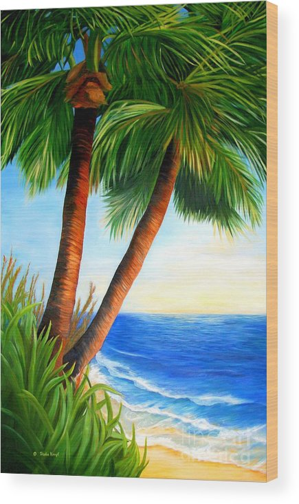 Art Wood Print featuring the painting Two Palms by Shelia Kempf