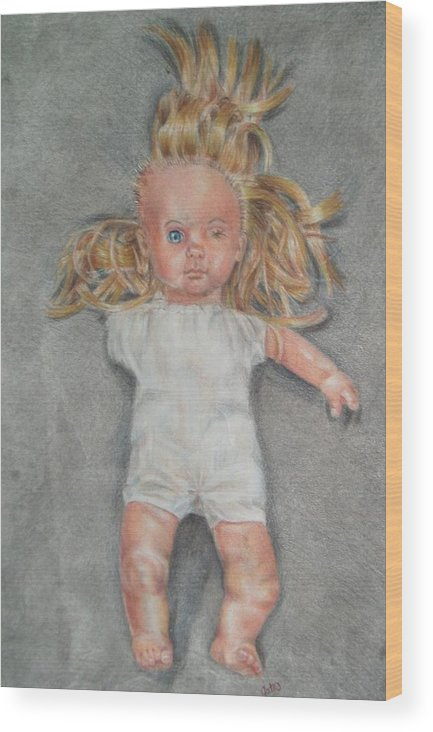 Creepy Wood Print featuring the drawing Broken by Joanna Gates
