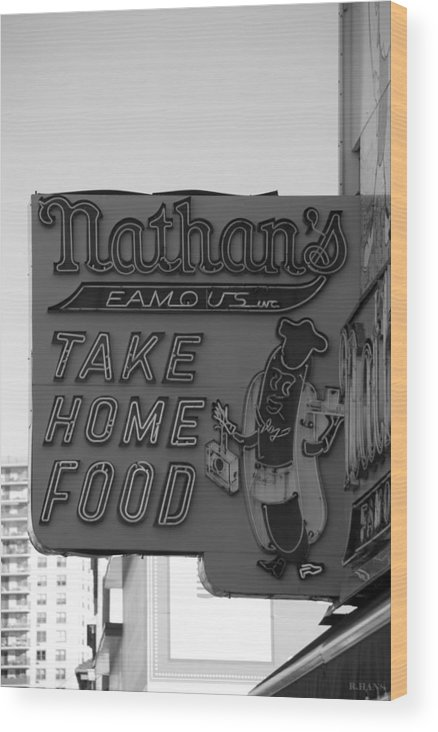 Brooklyn Wood Print featuring the photograph Original Nathan's In Black And White by Rob Hans
