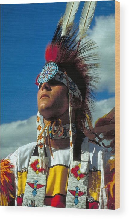 Native American Indian Wood Print featuring the photograph An American Indian No1 by Guy Harnett