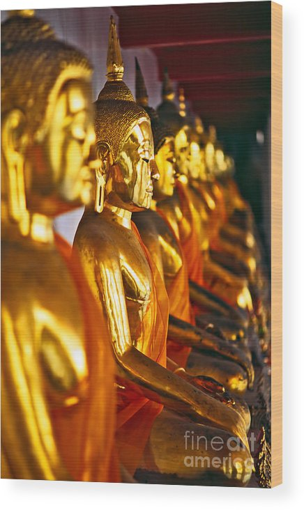 Illuminazione Wood Print featuring the photograph Buddhas by Luciano Mortula