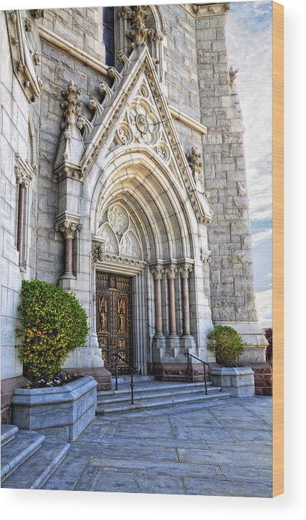Sacred Heart Cathedral.doorway Wood Print featuring the photograph Doorway Sacred Heart Cathedral by Dave Mills