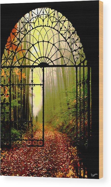 Leafs Wood Print featuring the digital art Gates Of Autumn by Igor Zenin