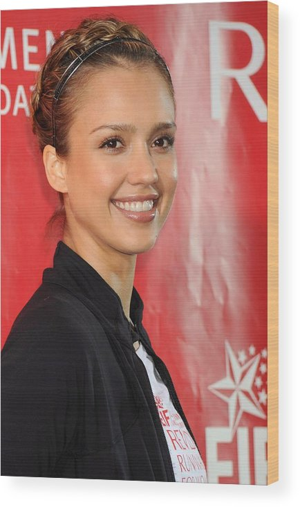 Jessica Alba Wood Print featuring the photograph Jessica Alba At A Public Appearance by Everett