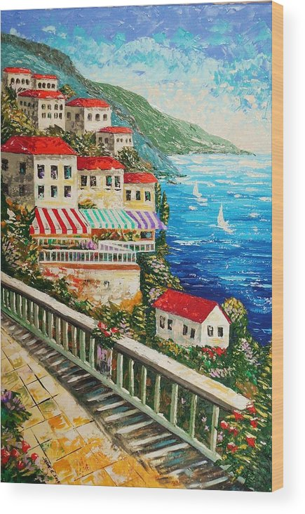Italy Wood Print featuring the painting La Vita Bella by Jason Ebrahimi