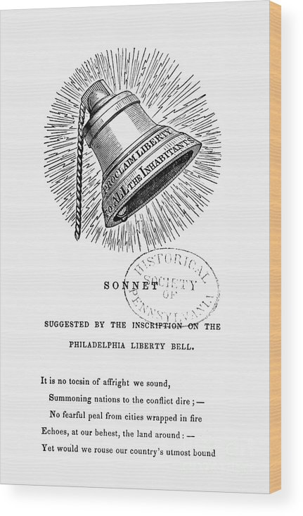 1830s Wood Print featuring the photograph Liberty Bell, 1839 by Granger