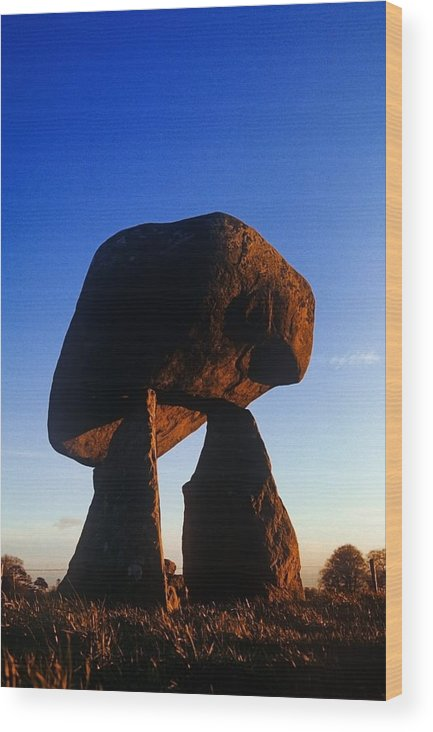 Ancient Civilization Wood Print featuring the photograph Low Angle View Of Proleek Dolmen by The Irish Image Collection