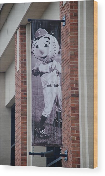 Shea Stadium Wood Print featuring the photograph Mr Met by Rob Hans