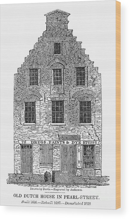 1626 Wood Print featuring the photograph New Amsterdam: House, 1626 by Granger