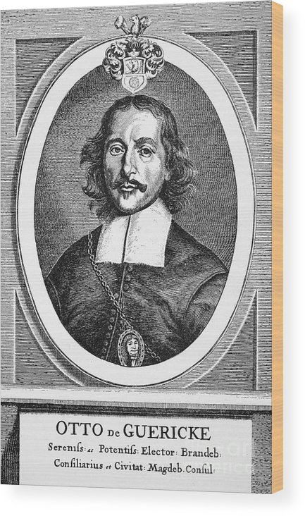 1672 Wood Print featuring the photograph Otto Von Guericke (1602-1686) by Granger