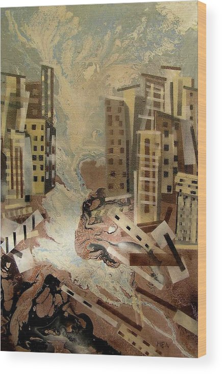 Wood Print featuring the painting Skyleaking City by Evguenia Men