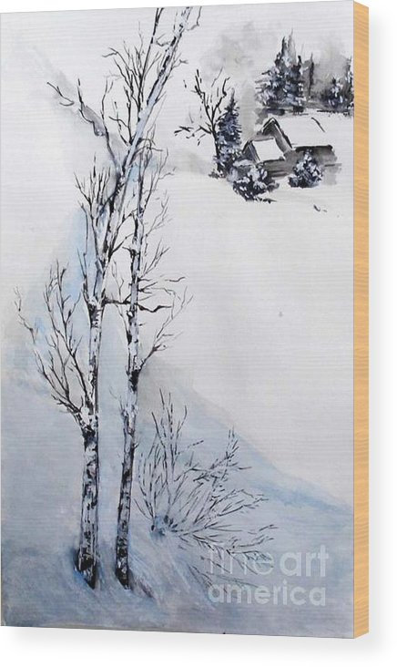 Snow Wood Print featuring the painting Snow Time by Sibby S