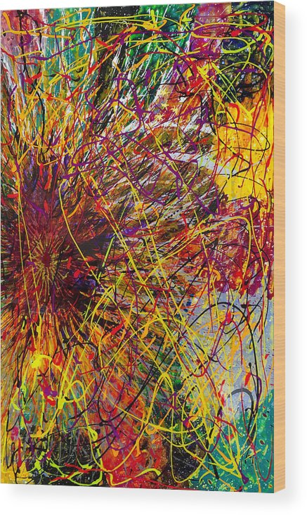 Abstract Wood Print featuring the painting 16-10 String Burst by Patrick OLeary