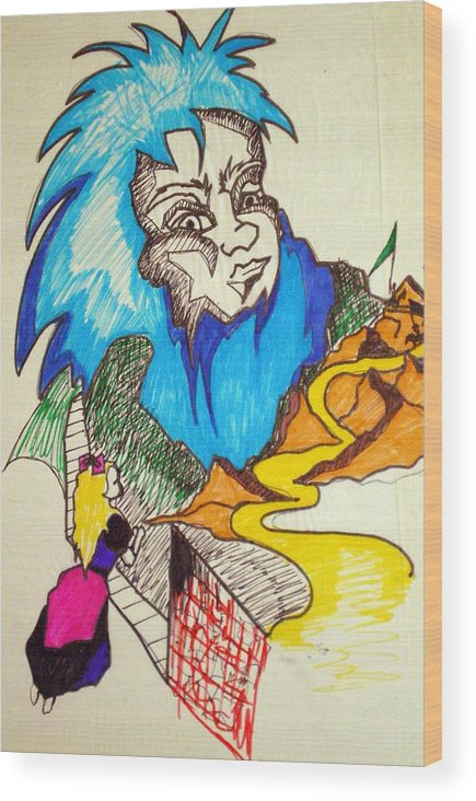 Bluebeard Wood Print featuring the drawing Bluebeard by Tammera Malicki-Wong