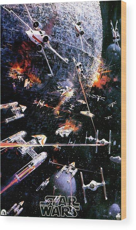 Star Wars Wood Print featuring the digital art Star Wars Episode Iv - A New Hope 1977 by Geek N Rock