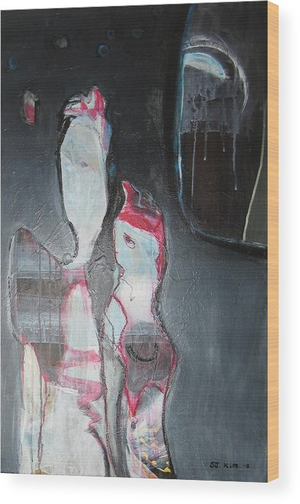 Abstract Paintings Wood Print featuring the painting A Flase Rumor by Seon-Jeong Kim