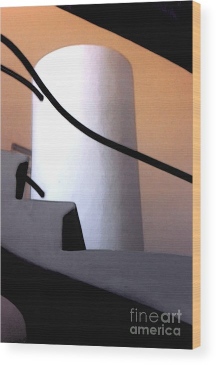Abstract Wood Print featuring the photograph A Gaudi Staircase by Linda Parker