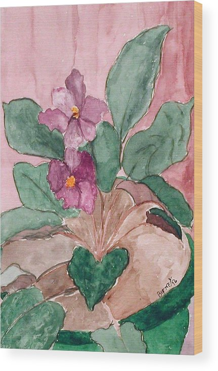Watercolor Wood Print featuring the painting African Violet by Margie Byrne