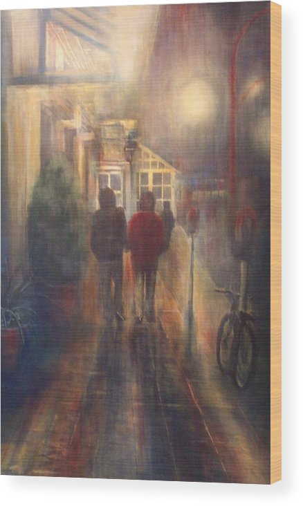 People Wood Print featuring the painting After Hours by Victoria Heryet