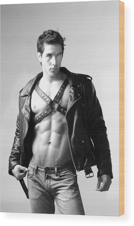Male Wood Print featuring the photograph Alan In Leather by Dan Nelson
