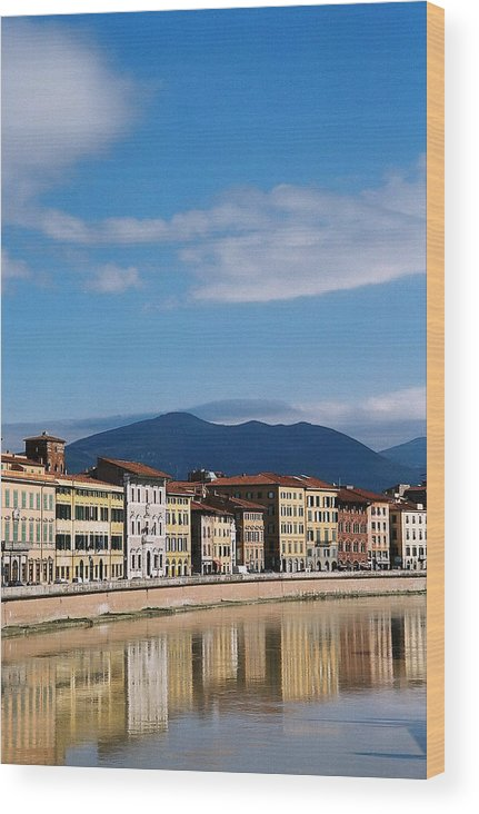 Pisa Wood Print featuring the photograph Arno River Pisa Italy by Kathy Schumann