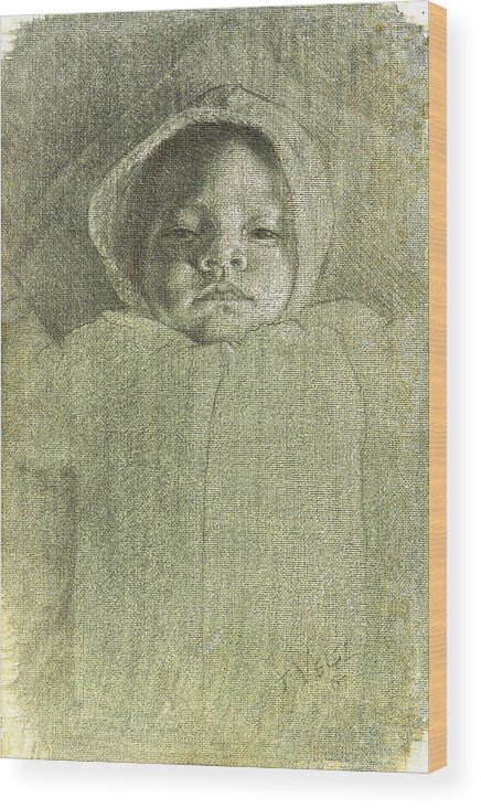 Wood Print featuring the painting Baby Self Portrait by Joe Velez