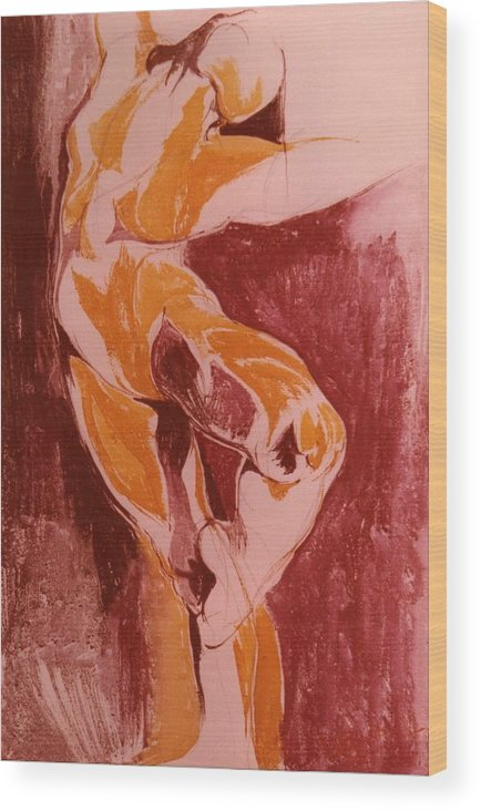 Ballet Wood Print featuring the painting Ballet Dancer by Maria Grazia Repetto