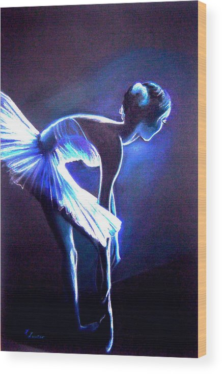 Ballet Wood Print featuring the drawing Ballet In Blue by L Lauter