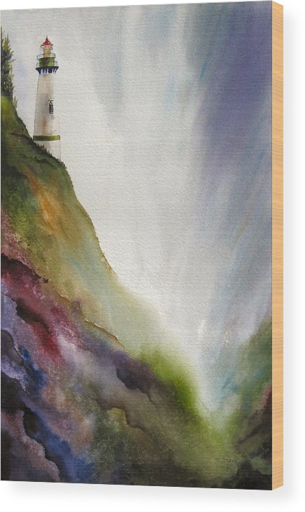 Lighthouse Wood Print featuring the painting Beacon by Karen Stark