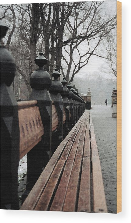 New York City Wood Print featuring the photograph Bench by John-Marc Grob