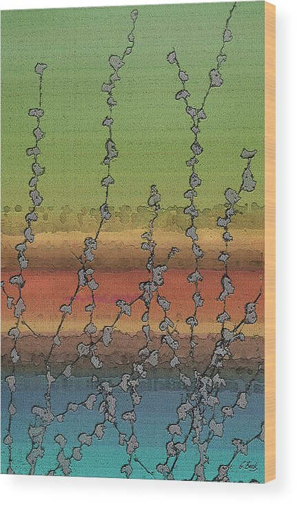 Contemporary Abstract Water Vines Nature Vibrant Green Orange Blue Gordon Beck Art Wood Print featuring the painting Beside Still Waters by Gordon Beck