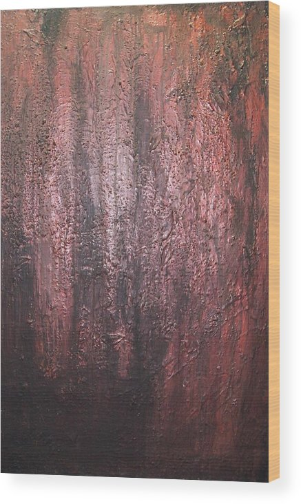 Abstract Wood Print featuring the painting Black No 1 by Elizabeth Klecker