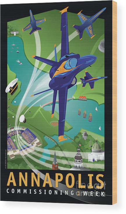 Blue Angels Wood Print featuring the digital art Blue Angels Over Annapolis Usna by Joe Barsin