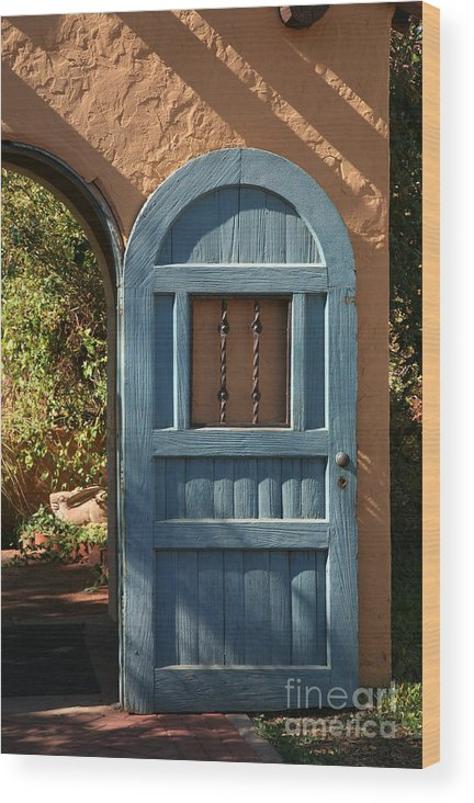 Door Wood Print featuring the photograph Blue Arch Door by Timothy Johnson