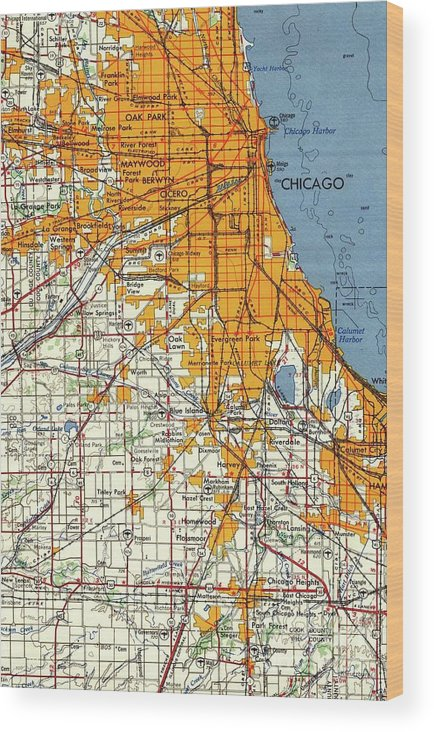 image regarding Printable Maps of Chicago known as Blue Chicago Outdated Map, Orange Map Wooden Print