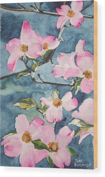 Flowers Wood Print featuring the painting Blushing Prettily by Jean Blackmer