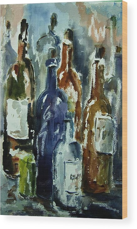 Still Life Wood Print featuring the painting Bottle In A Dusty Cellar by Wilfred McOstrich